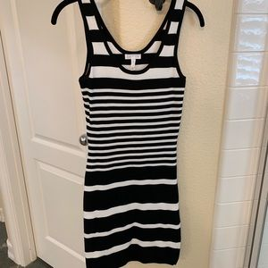 Leith - Black and White Striped Body con dress - S